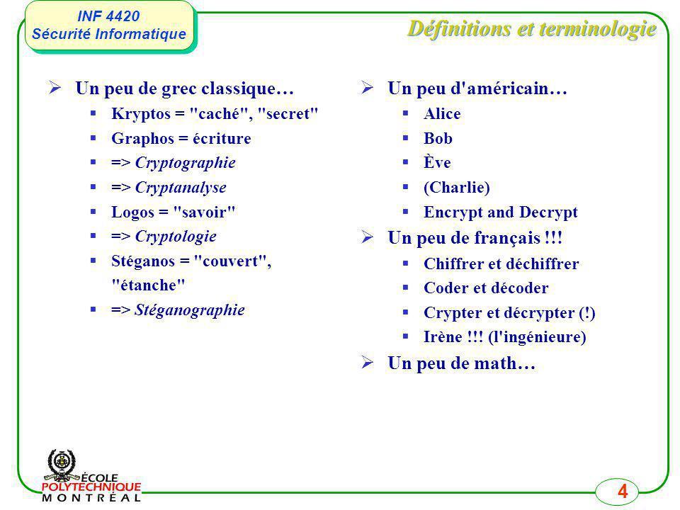 INF 4420 Sécurité Informatique INF 4420 Sécurité Informatique 4 Définitions et terminologie Un peu de grec classique… Kryptos =