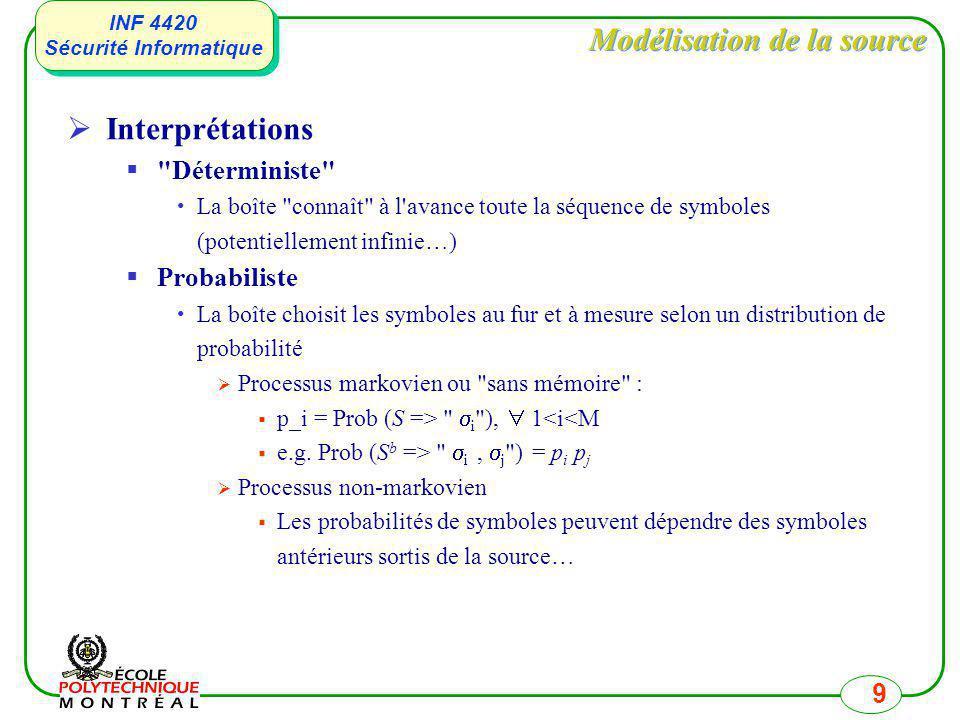INF 4420 Sécurité Informatique INF 4420 Sécurité Informatique 9 Modélisation de la source Interprétations