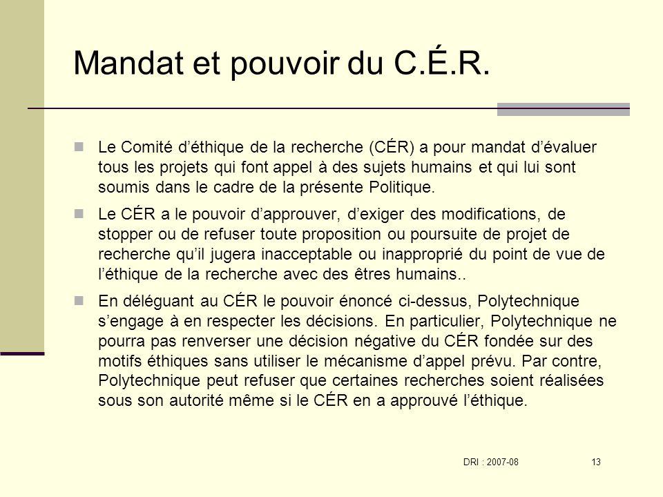 DRI : 2007-08 13 Mandat et pouvoir du C.É.R.