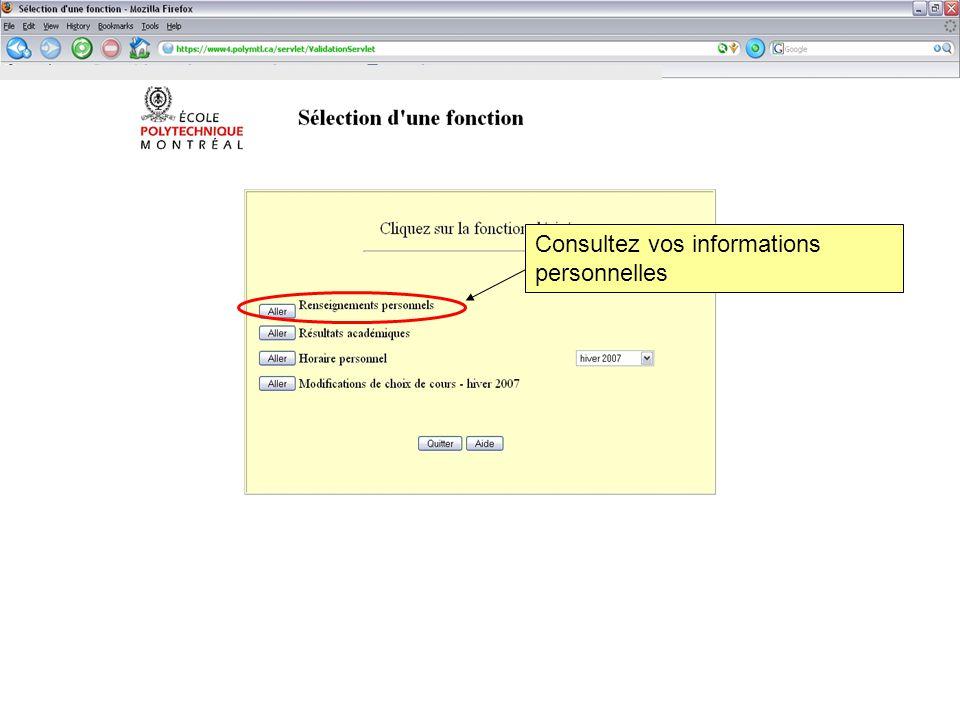 Consultez vos informations personnelles