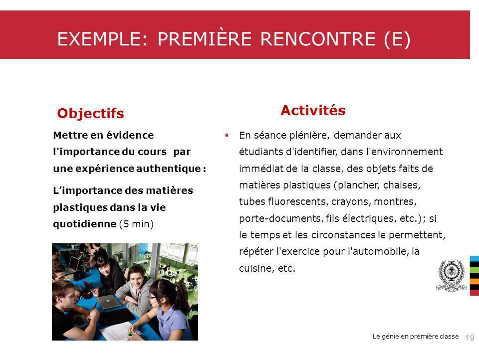 Le génie en première classe EXEMPLE: PREMIÈRE RENCONTRE (E) Objectifs Activités Mettre en évidence l importance du cours par une expérience authentique : Limportance des matières plastiques dans la vie quotidienne (5 min) En séance plénière, demander aux étudiants d identifier, dans l environnement immédiat de la classe, des objets faits de matières plastiques (plancher, chaises, tubes fluorescents, crayons, montres, porte-documents, fils électriques, etc.); si le temps et les circonstances le permettent, répéter l exercice pour l automobile, la cuisine, etc.
