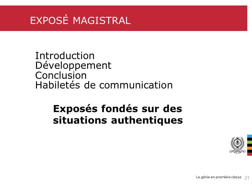 Le génie en première classe EXPOSÉ MAGISTRAL Introduction Développement Conclusion Habiletés de communication Exposés fondés sur des situations authentiques 21