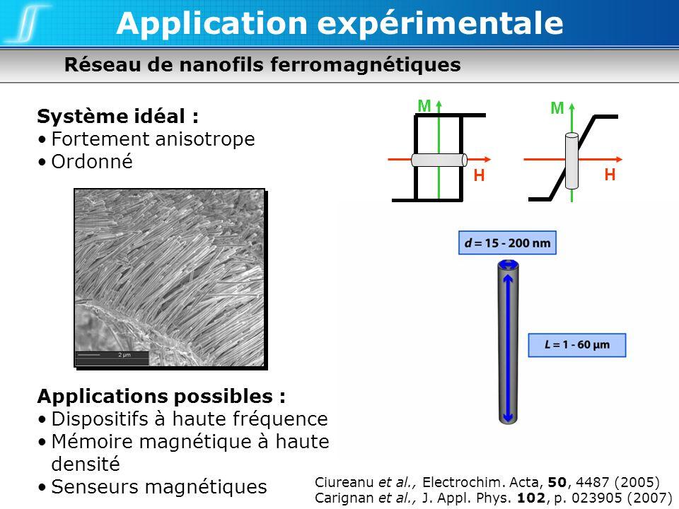 Réseau de nanofils ferromagnétiques Application expérimentale Système idéal : Fortement anisotrope Ordonné Applications possibles : Dispositifs à haut