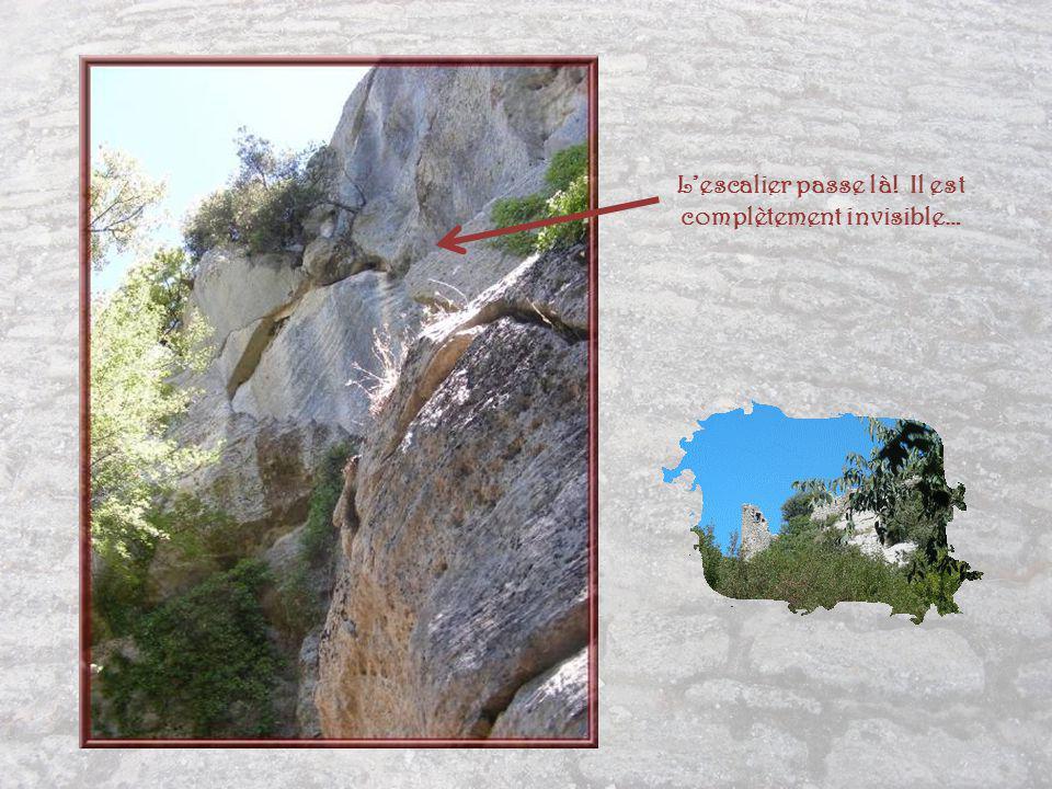 Lami Jacques, à qui je dois cette balade et cette photo, a attiré mon attention sur une grande particularité, celle quil trouve la plus importante dans cet escalier : on a conservé la lame de pierre en le creusant dans la masse rocheuse, pour le masquer.