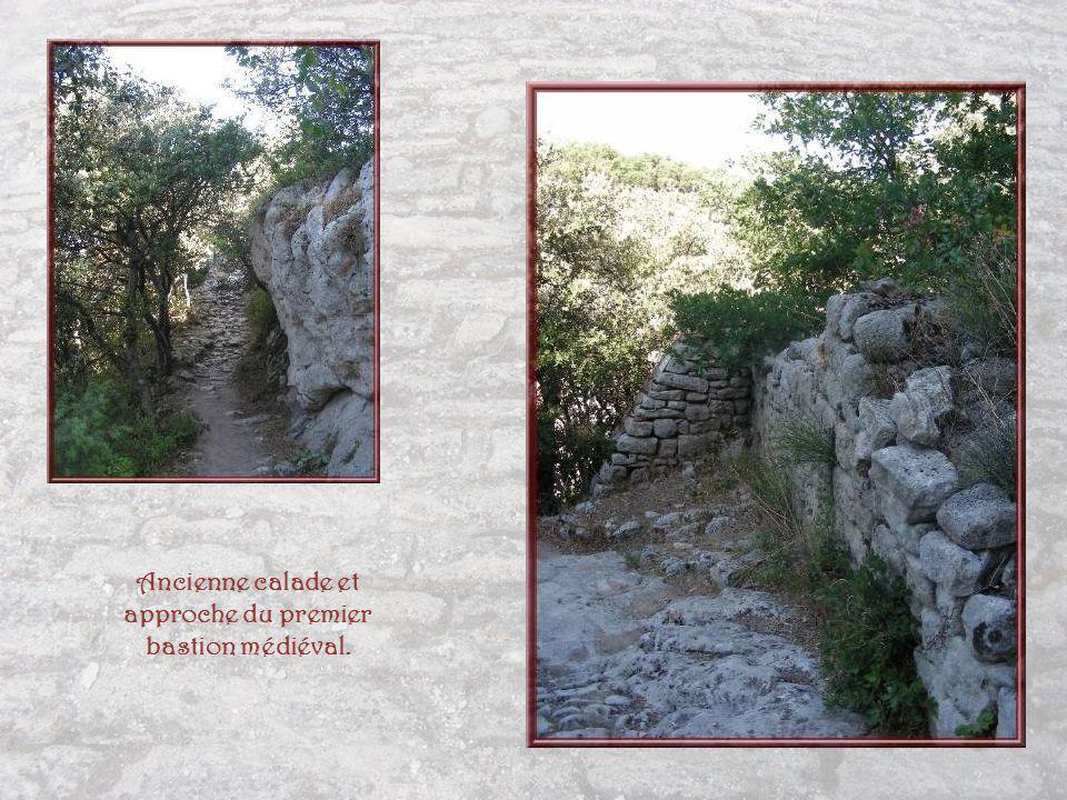 De hautes falaises bordent le site de Buoux et cest par ce chemin pierreux que lon rejoint la forteresse.