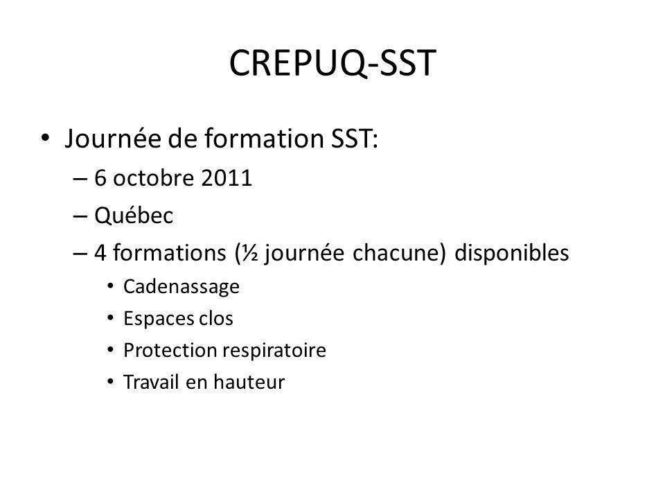 CREPUQ-SST Journée de formation SST: – 6 octobre 2011 – Québec – 4 formations (½ journée chacune) disponibles Cadenassage Espaces clos Protection respiratoire Travail en hauteur