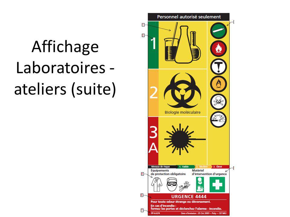 Affichage Laboratoires - ateliers (suite)