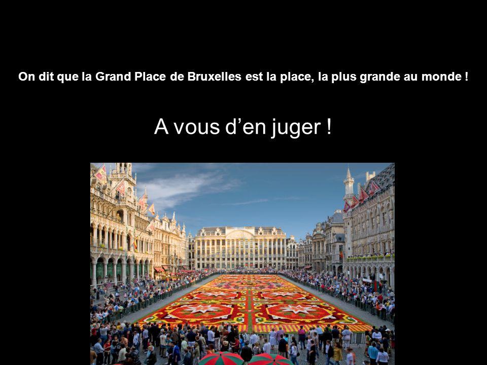 On dit que la Grand Place de Bruxelles est la place, la plus grande au monde ! A vous den juger !