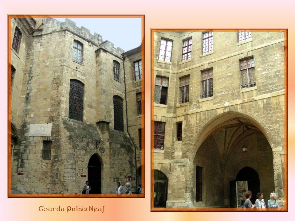 Fontaine devant le donjon Aycelin et ornementation de la porte de lHôtel de Ville.