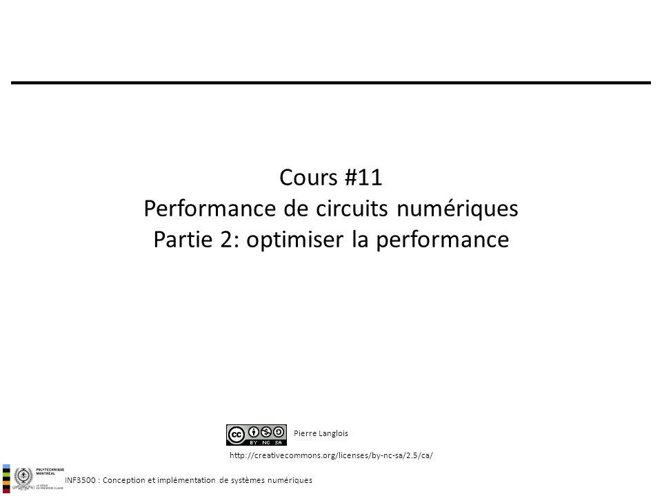 INF3500 : Conception et implémentation de systèmes numériques http://creativecommons.org/licenses/by-nc-sa/2.5/ca/ Pierre Langlois Cours #11 Performan