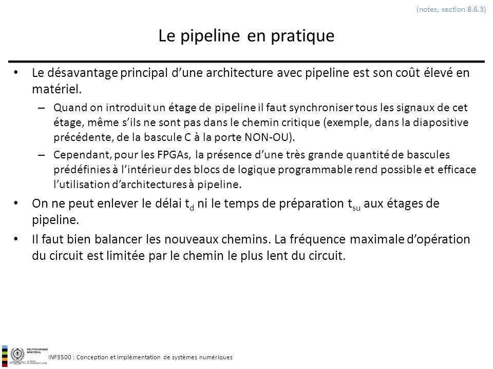 INF3500 : Conception et implémentation de systèmes numériques Le pipeline en pratique Le désavantage principal dune architecture avec pipeline est son