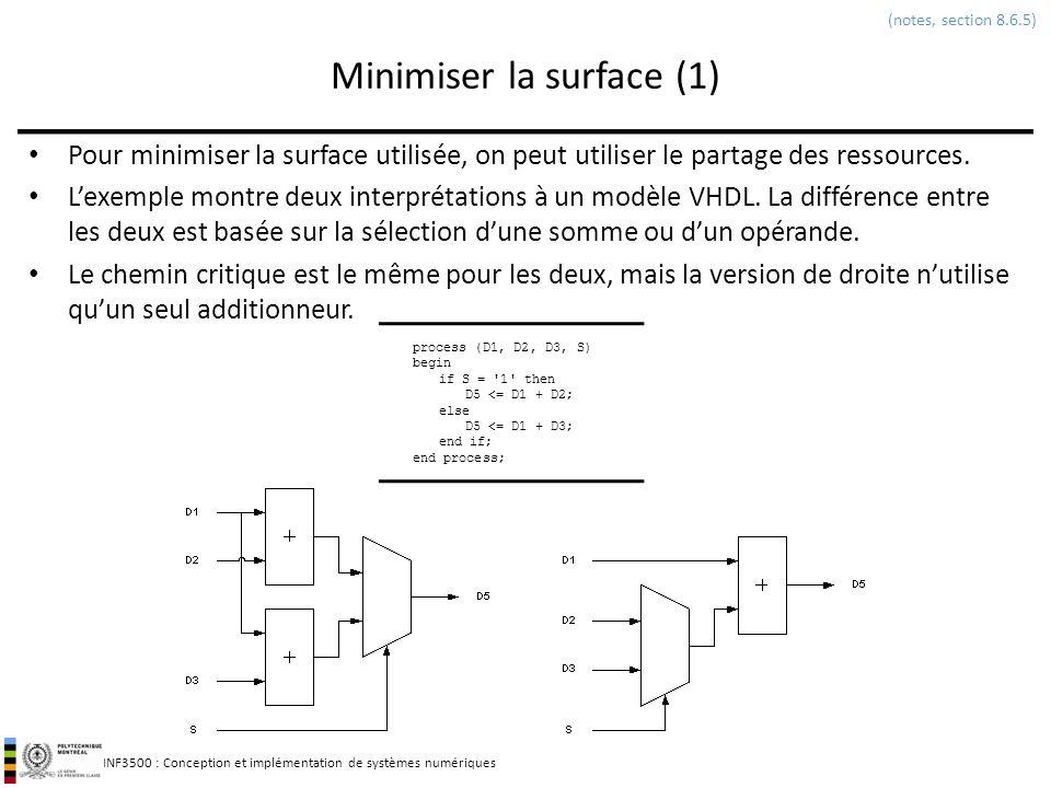 INF3500 : Conception et implémentation de systèmes numériques Minimiser la surface (1) Pour minimiser la surface utilisée, on peut utiliser le partage