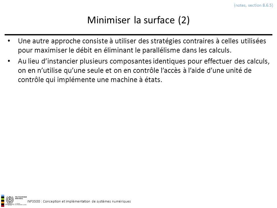 INF3500 : Conception et implémentation de systèmes numériques Minimiser la surface (2) Une autre approche consiste à utiliser des stratégies contraire