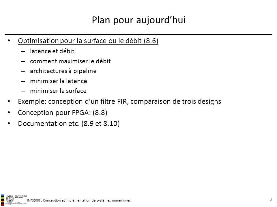 INF3500 : Conception et implémentation de systèmes numériques Filtre numérique 44 Exercice: Proposer une architecture pour minimiser la surface.