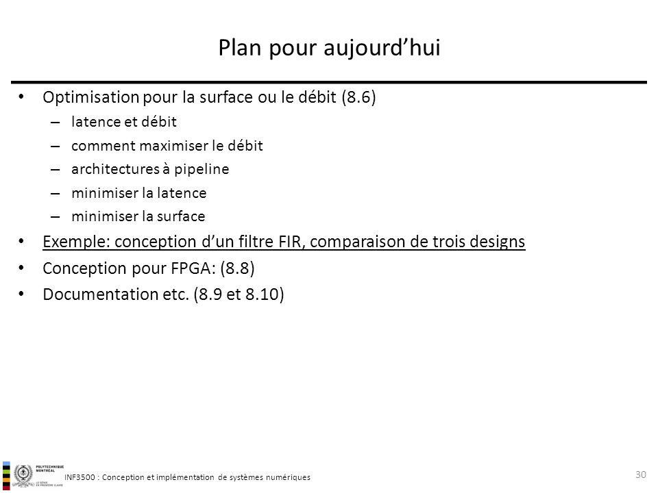 INF3500 : Conception et implémentation de systèmes numériques Optimisation pour la surface ou le débit (8.6) – latence et débit – comment maximiser le
