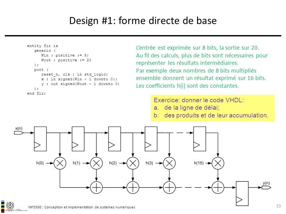 INF3500 : Conception et implémentation de systèmes numériques Design #1: forme directe de base 33 entity fir is generic ( Win : positive := 8; Wout :