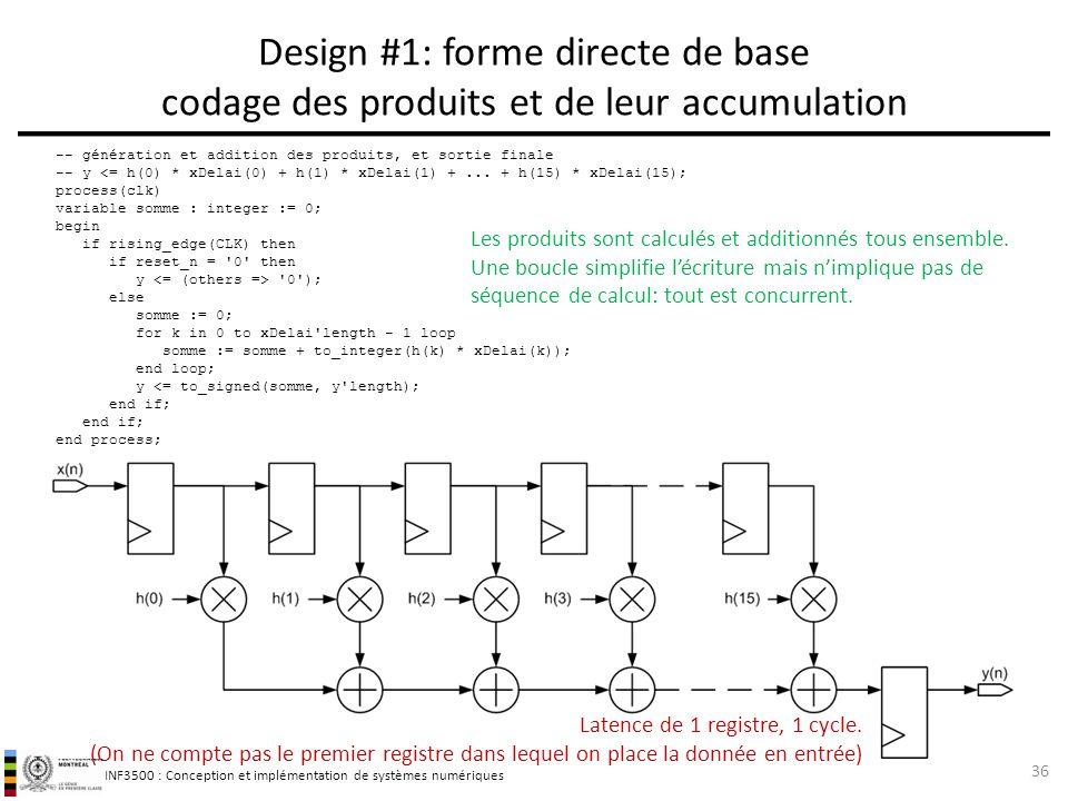 INF3500 : Conception et implémentation de systèmes numériques Design #1: forme directe de base codage des produits et de leur accumulation 36 -- génér