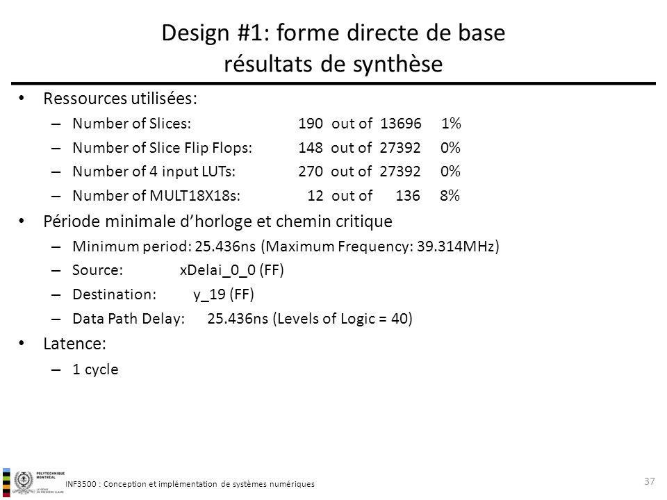 INF3500 : Conception et implémentation de systèmes numériques Ressources utilisées: – Number of Slices: 190 out of 13696 1% – Number of Slice Flip Flo