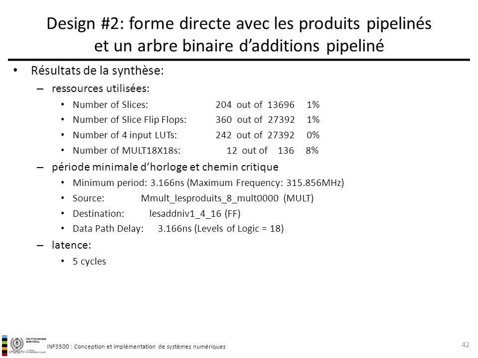 INF3500 : Conception et implémentation de systèmes numériques Résultats de la synthèse: – ressources utilisées: Number of Slices: 204 out of 13696 1%