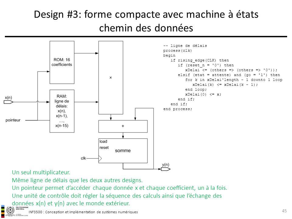 INF3500 : Conception et implémentation de systèmes numériques Design #3: forme compacte avec machine à états chemin des données 45 Un seul multiplicat