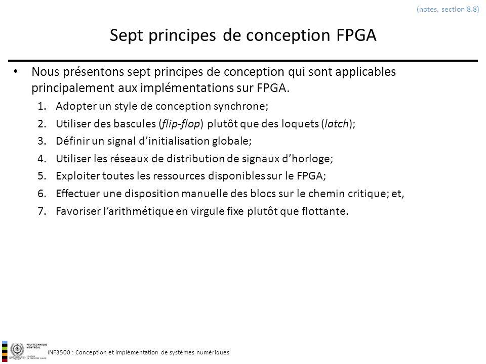 INF3500 : Conception et implémentation de systèmes numériques Sept principes de conception FPGA Nous présentons sept principes de conception qui sont