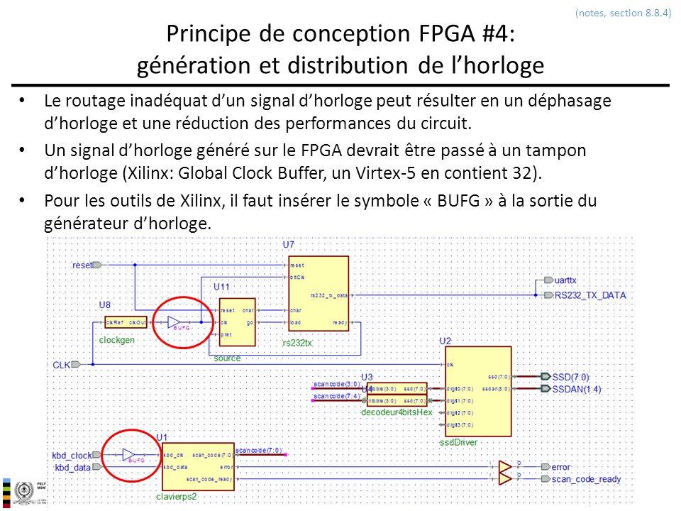 INF3500 : Conception et implémentation de systèmes numériques Principe de conception FPGA #4: génération et distribution de lhorloge Le routage inadéq