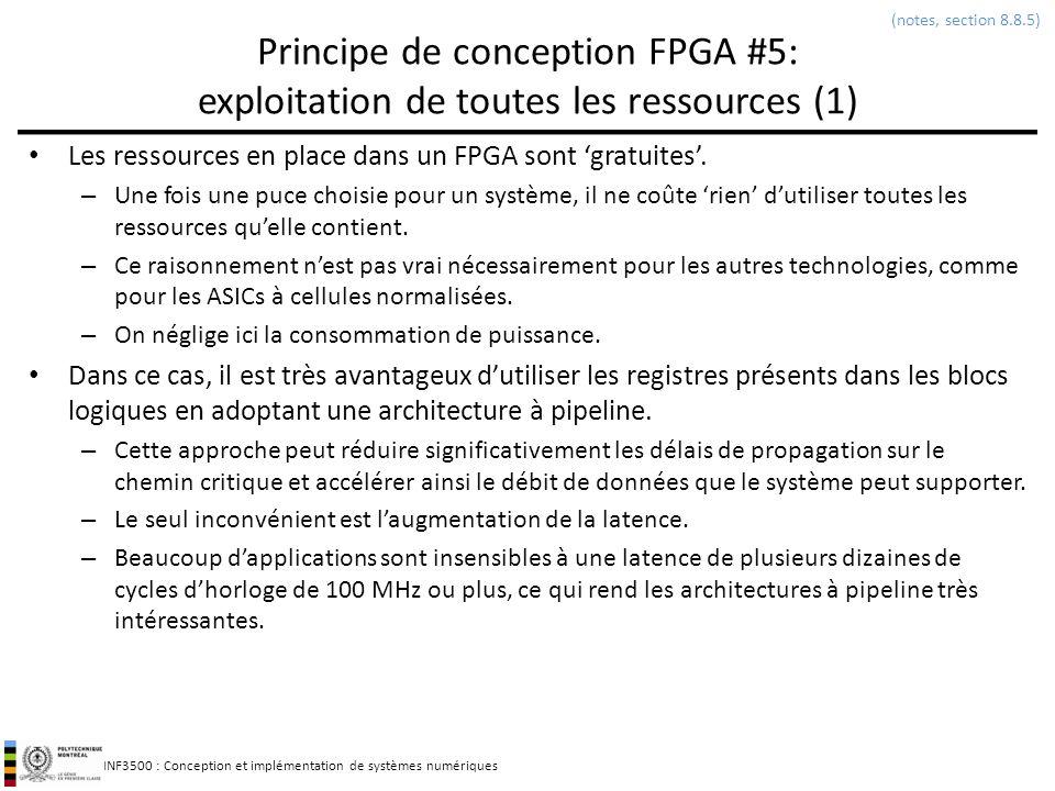 INF3500 : Conception et implémentation de systèmes numériques Principe de conception FPGA #5: exploitation de toutes les ressources (1) Les ressources