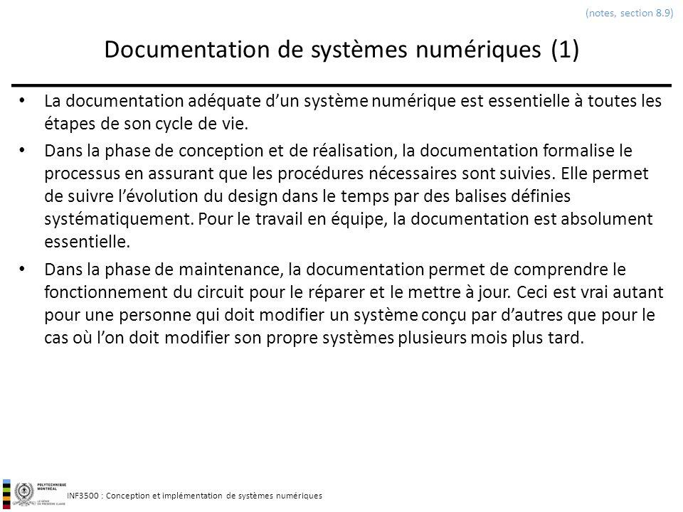 INF3500 : Conception et implémentation de systèmes numériques Documentation de systèmes numériques (1) La documentation adéquate dun système numérique