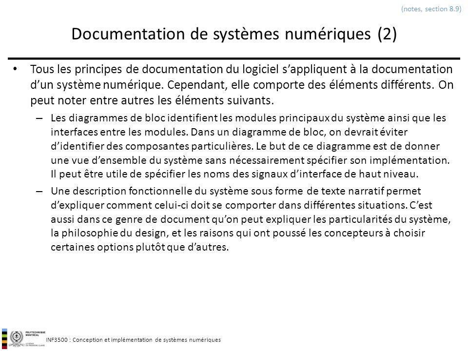 INF3500 : Conception et implémentation de systèmes numériques Documentation de systèmes numériques (2) Tous les principes de documentation du logiciel