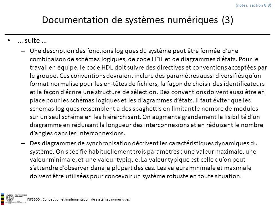 INF3500 : Conception et implémentation de systèmes numériques Documentation de systèmes numériques (3) … suite … – Une description des fonctions logiq