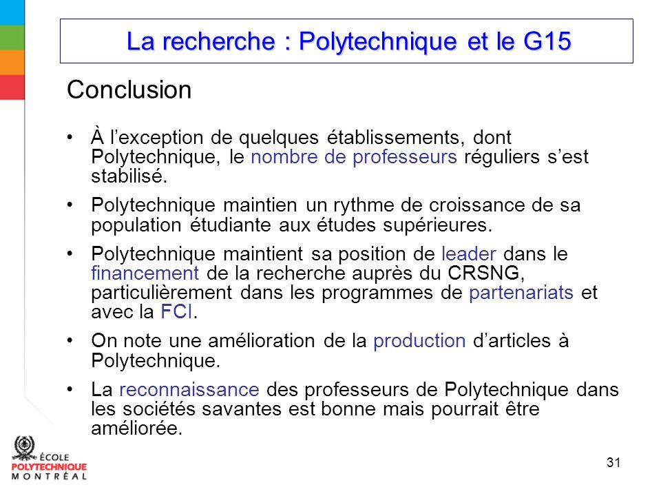 La recherche : Polytechnique et le G15 La recherche : Polytechnique et le G15 31 Conclusion À lexception de quelques établissements, dont Polytechnique, le nombre de professeurs réguliers sest stabilisé.