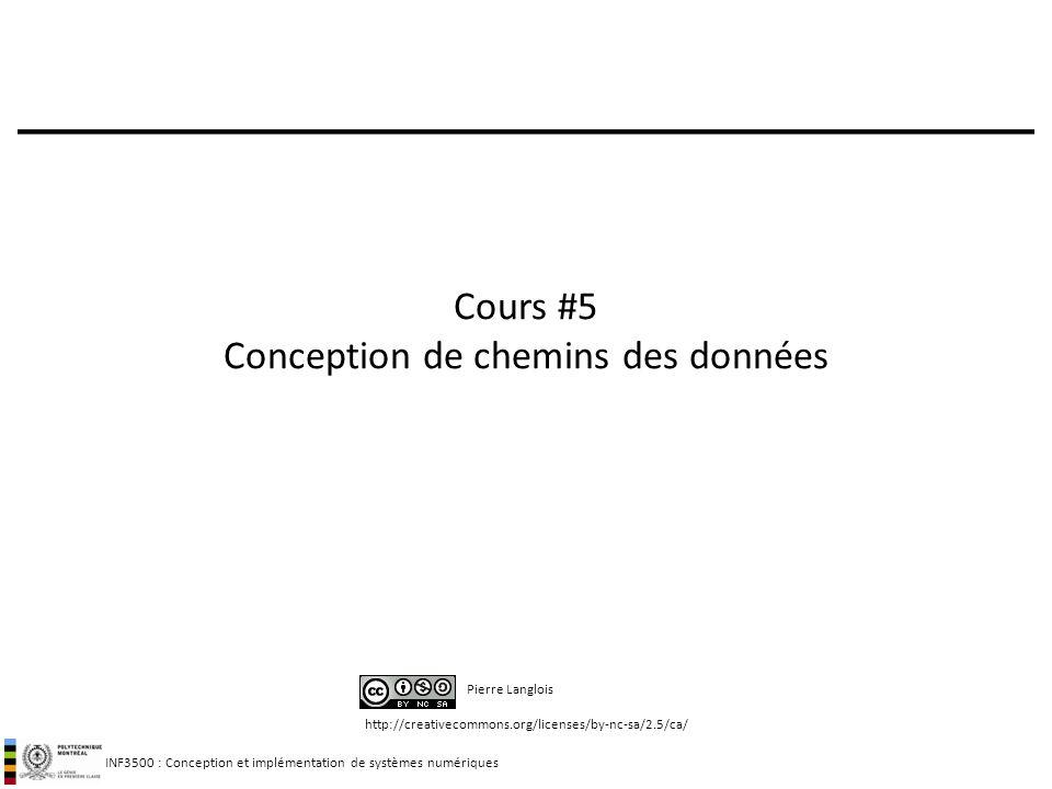 INF3500 : Conception et implémentation de systèmes numériques http://creativecommons.org/licenses/by-nc-sa/2.5/ca/ Pierre Langlois Cours #5 Conception