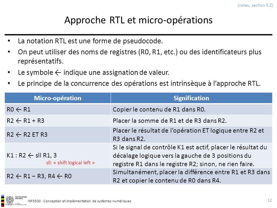 INF3500 : Conception et implémentation de systèmes numériques Approche RTL et micro-opérations La notation RTL est une forme de pseudocode. On peut ut