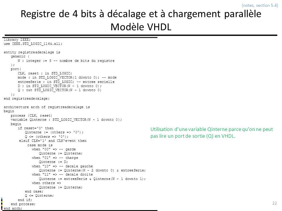 INF3500 : Conception et implémentation de systèmes numériques Registre de 4 bits à décalage et à chargement parallèle Modèle VHDL 22 (notes, section 5
