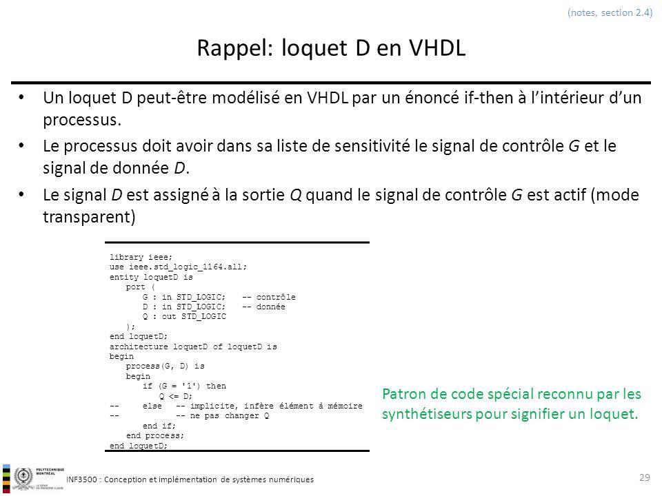 INF3500 : Conception et implémentation de systèmes numériques Rappel: loquet D en VHDL Un loquet D peut-être modélisé en VHDL par un énoncé if-then à