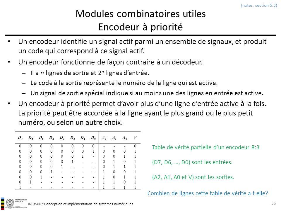 INF3500 : Conception et implémentation de systèmes numériques Modules combinatoires utiles Encodeur à priorité Un encodeur identifie un signal actif p