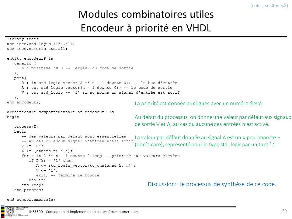 INF3500 : Conception et implémentation de systèmes numériques Modules combinatoires utiles Encodeur à priorité en VHDL 39 (notes, section 5.3) library