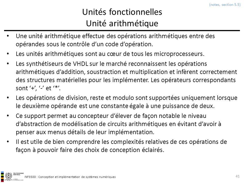 INF3500 : Conception et implémentation de systèmes numériques Unités fonctionnelles Unité arithmétique Une unité arithmétique effectue des opérations