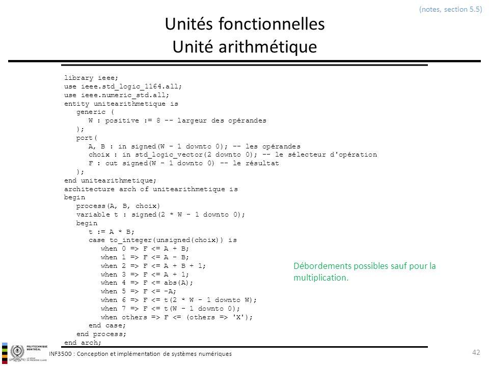 INF3500 : Conception et implémentation de systèmes numériques Unités fonctionnelles Unité arithmétique 42 (notes, section 5.5) library ieee; use ieee.