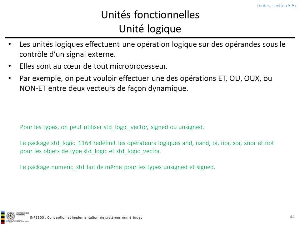 INF3500 : Conception et implémentation de systèmes numériques Unités fonctionnelles Unité logique Les unités logiques effectuent une opération logique