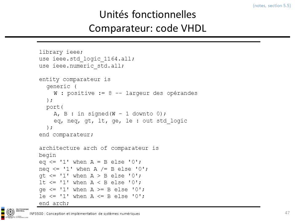 INF3500 : Conception et implémentation de systèmes numériques Unités fonctionnelles Comparateur: code VHDL 47 (notes, section 5.5) library ieee; use i