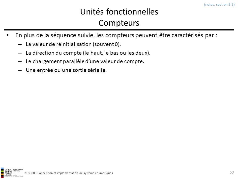 INF3500 : Conception et implémentation de systèmes numériques Unités fonctionnelles Compteurs En plus de la séquence suivie, les compteurs peuvent êtr
