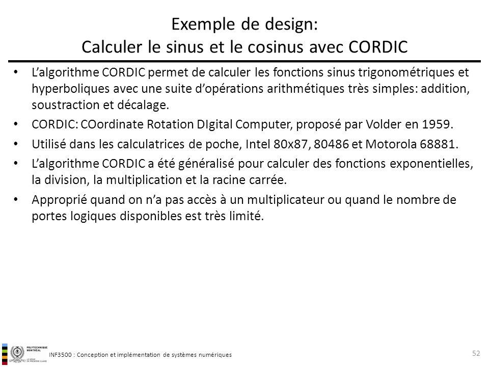 INF3500 : Conception et implémentation de systèmes numériques Exemple de design: Calculer le sinus et le cosinus avec CORDIC Lalgorithme CORDIC permet