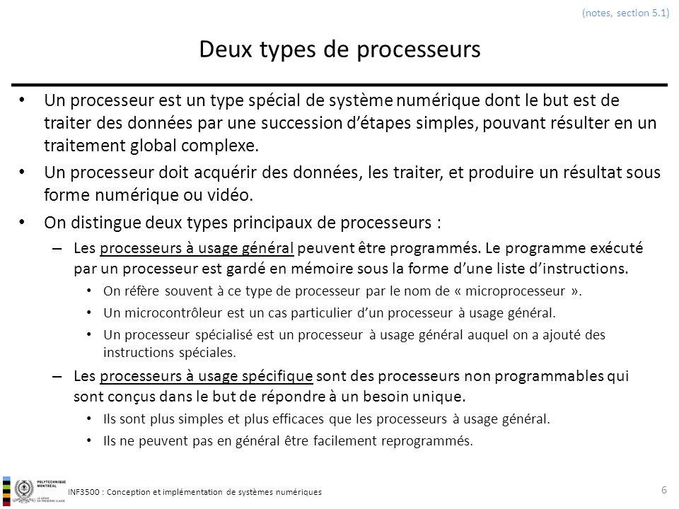 INF3500 : Conception et implémentation de systèmes numériques Deux types de processeurs Un processeur est un type spécial de système numérique dont le