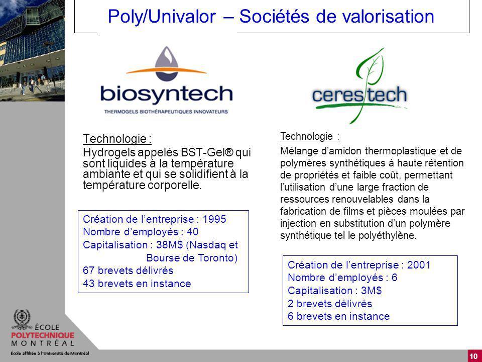 10 Poly/Univalor – Sociétés de valorisation Technologie : Hydrogels appelés BST-Gel® qui sont liquides à la température ambiante et qui se solidifient à la température corporelle.