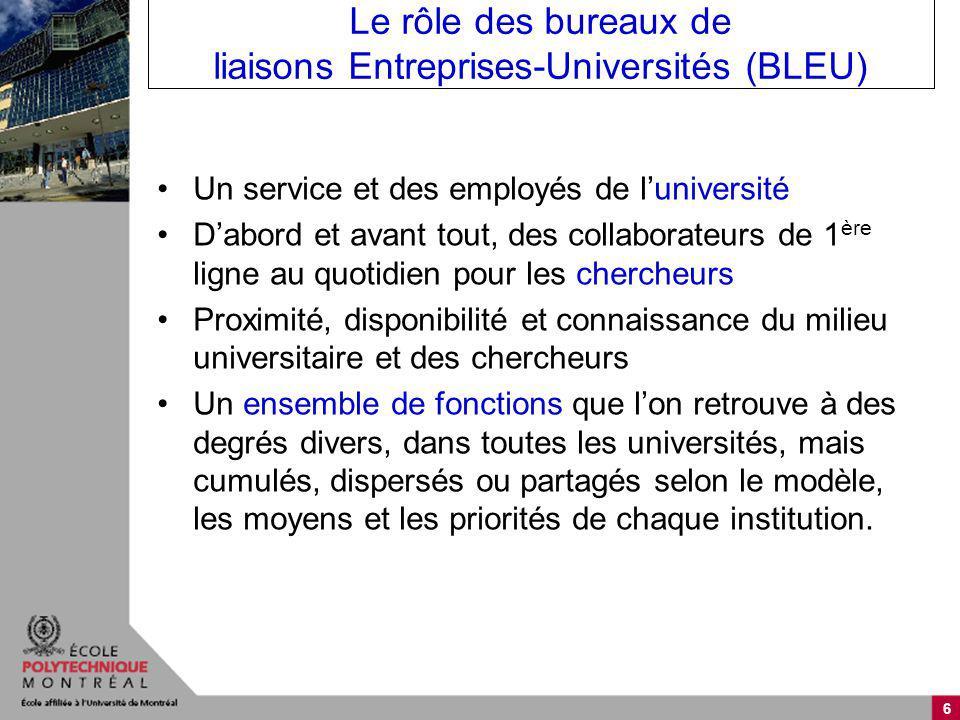 6 Le rôle des bureaux de liaisons Entreprises-Universités (BLEU) Un service et des employés de luniversité Dabord et avant tout, des collaborateurs de