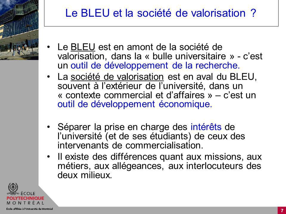 7 Le BLEU et la société de valorisation ? Le BLEU est en amont de la société de valorisation, dans la « bulle universitaire » - cest un outil de dével