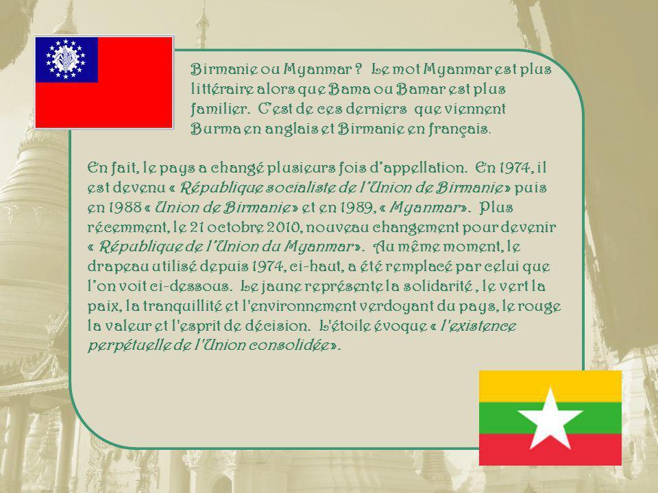 Birmanie ou Myanmar .Le mot Myanmar est plus littéraire alors que Bama ou Bamar est plus familier.