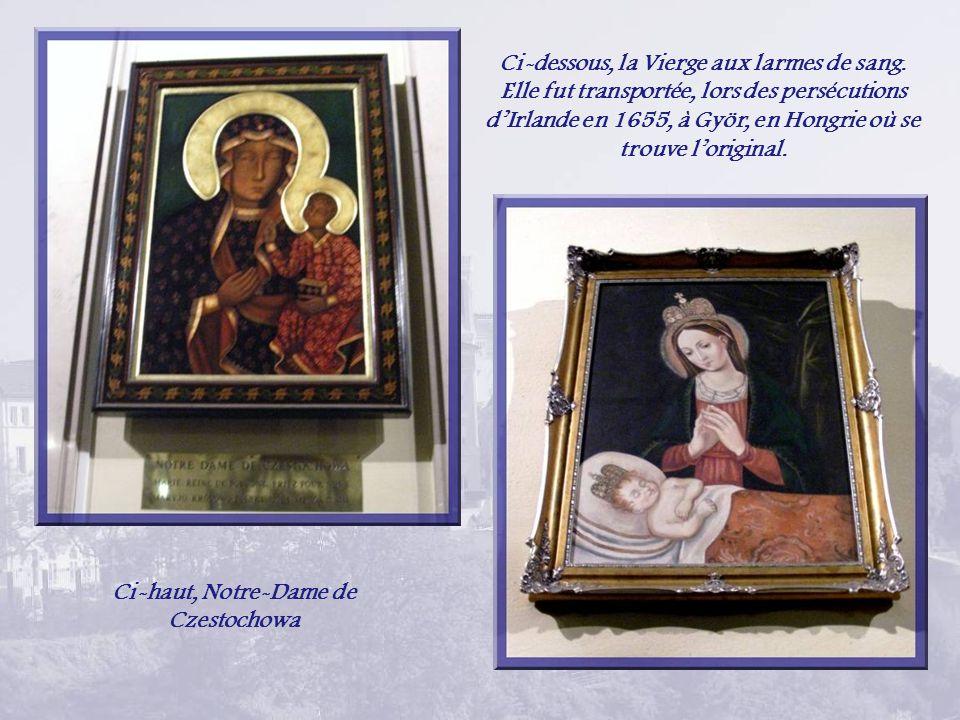 Dans la crypte, on retrouve des reproductions de Vierges de différents pays… et Notre-Dame de la Santé de Vailankanni A droite, Notre-Dame de Fatima