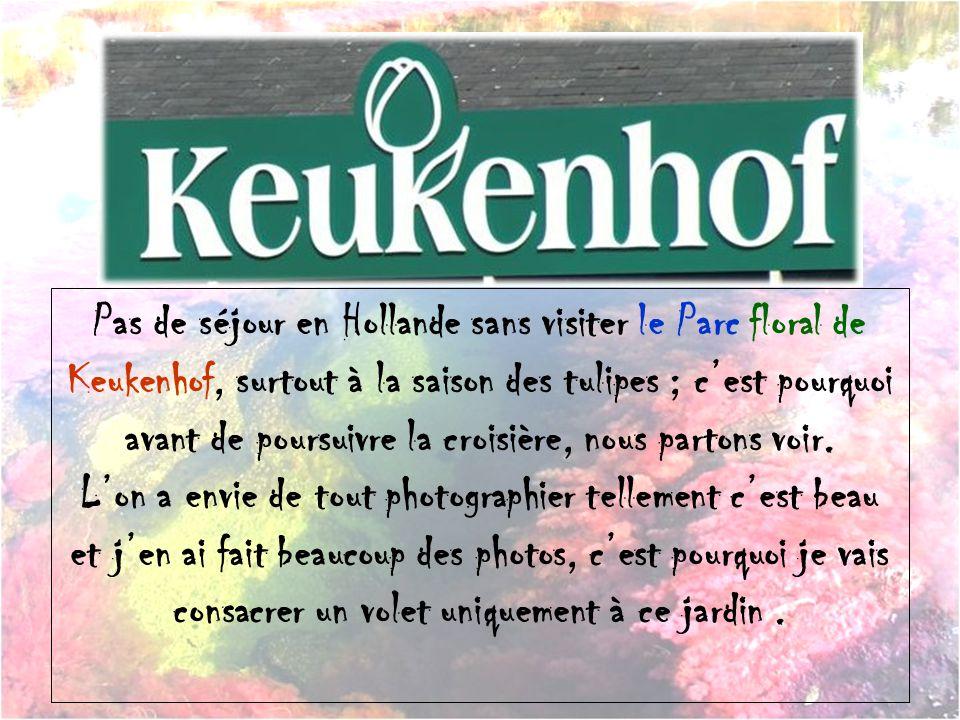 Pas de séjour en Hollande sans visiter le Parc floral de Keukenhof, surtout à la saison des tulipes ; cest pourquoi avant de poursuivre la croisière, nous partons voir.